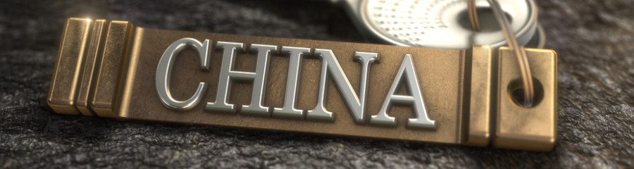 Key from China Concept. Keys with Keyring. 3D rendering